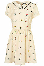 TOPSHOP BEIGE PANSY PRINT COLLAR DRESS