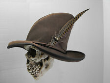 Wizard leather hat (Brown) pirate larp sca renaissance fair medieval feather