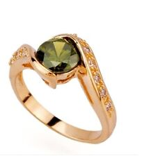 9CT Gold plated Ring with Round Cut Cubic Zirconia Stone R104