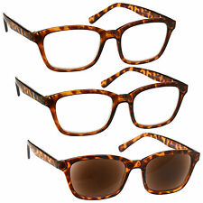 2 x Reading Glasses 1 x Sun Readers 3 Pack Mens Womens Large Brown UVRSR3PK019