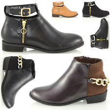 Ladies Chelsea Flat Low Heel Buckle Cut Out Womens Ankle Boots Shoes Size 3-8