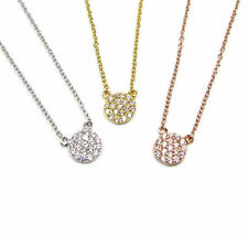 Tiny CZ Disc Necklace, Cubic Zirconia- Gold Vermeil, Sterling Silver, or Rose