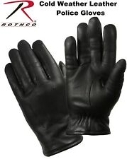 Black Military & Law Enforcement  Cold Weather Leather Police Gloves 4472