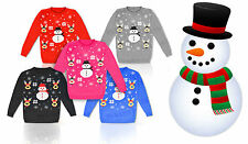 Childrens Boy Girls Christmas Xmas 3D Novelty Rudolf Fairisle Snowman Jumper