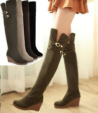 Hot womens over the knee boots buckle strap pull on wedge heel 4 color plus size