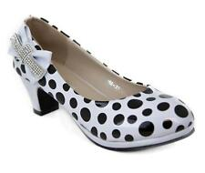 Childs Girls Children Dimante Polka Dot Heeled Shoes for Parties and Casual Wear