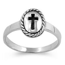925 Sterling Silver Religious Cross Sign Good Luck Oval Love Band Ring Size 1-11