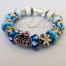 Authentic PANDORA Sterling Silver Charm Bracelet With Winter Snowflake Beads