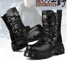 2014 TOP PUNK Rock-Men's Fashion Army Motorcycle COOL Boot # PU Leather S-8/9/10