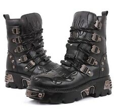 2014 TOP PUNK Rock-Men's Fashion Motorcycle Army COOL Boot # PU Leather-SZ8/9/10