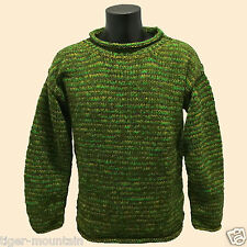HIPPY BOHO CASUAL HAND KNITTED MOTTLED GREEN CREW NECK JUMPER - FREE 1ST P&P