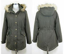 New Ladies Womens Padded Zip Parka Jacket Coat Fur Hood Size 12 to 18