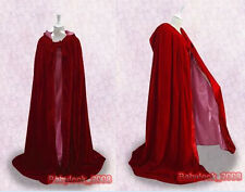 New Halloween Renaissance MEDIEVAL Red Cape Hooded Cloak Shawl LARP In stock