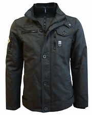 NEW Mens Crosshatch Double Zip Padded Winter Coat Casual Windbreaker Jacket