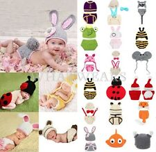 Boy Girl Baby Newborn Crochet Knit Costume Photography Photo Prop Hat Outfit GBW