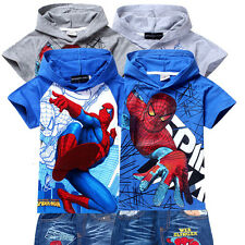 Kids Cool Spiderman Superhero T Shirt  Hoodies +Jeans Pants Sets Outfits Coat