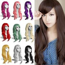 70CM Womens Long Hair Wig Curly Wavy Synthetic Anime Cosplay Full Wigs Fashion