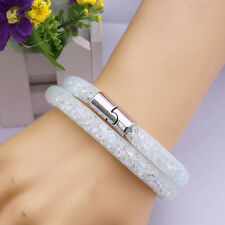 Colorful Stardust Crystal Wrap Mesh Magnetic Clasp Double Bracelet Gif