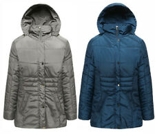 Womens Ladies Padded Winter Jacket Coat with Hood 10 to Plus Size 24