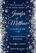 10 x FROZEN WINTER WEDDING INVITATIONS - CHRISTMAS WEDDING SNOWFLAKES