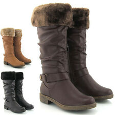 Ladies Chunky Flat Low Heel Knee High Fur Calf Womens Biker Riding Boots Size