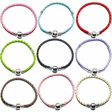 Braided Leather Charm Bracelets For European Charms Charm Beads