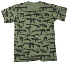 "GREEN Vintage Military USMC Marines Army Navy Airforce  "" GUNS ""  T-Shirt 66360"