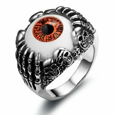 Silver Stainless Steel Skull Devil Claw w Brownish Red Eye Men's Ring Size 7-12