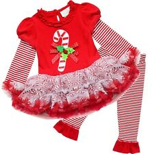 Infant Toddler Girls CANDY CANE Christmas Dresses Holiday Outfit Set Size 12-24M