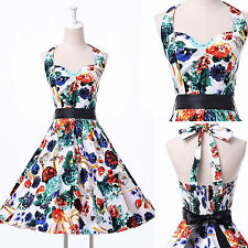 Sexy V Neck Vintage 1950s/1960s Style Pin-Up Rockabilly Dress Evening Short Gown