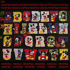 Embroidered Iron-on backing Mickey Letter Applique decal patch Alphabet A~Z