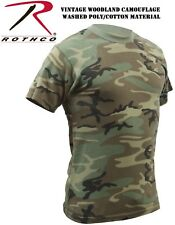 Vintage Washed Soft Military Style Woodland Camouflage Tactical T-Shirt 4777