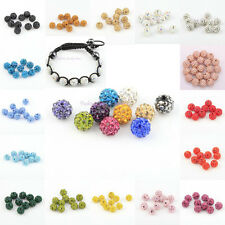 10Pcs 10mm Rhinestone Crystal Ball Disco Shining Beads Spacer Findings 23 Colors