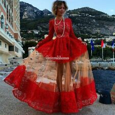 Womens Lace Dress Formal Evening Wedding Long Prom Gown Bodycon Dresses Red SML