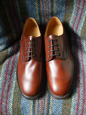 Loake Epsom plain Derby shoes in brown waxy leather width fitting F