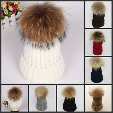 Winter Women Real Rabbit Fur ball Knitting Baggy Beanie Beret Ski Baggy Cap Hat