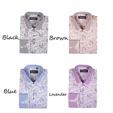 New Men's George Fashion Floral/Check Design Dress Shirt Double Collar AH-622