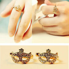 New Cute Exquisite Vintage Style Gold Silver Craystal Fox Mask Face Finger Ring