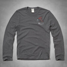 GENUINE ABERCROMBIE FITCH MENS L/S NOONMARK TEE GREY MUSCLE S M L XXL BNWT