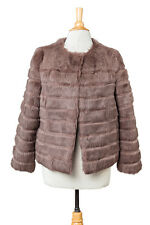 BRAND NEW TAUPE GRAY SOLID RABBIT FUR WOMENS JACKET