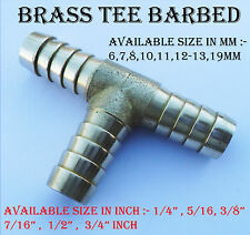 BRASS BARBED T PIECE 3 WAY FUEL HOSE JOINER FOR COMPRESSED AIR GAS OIL LPG PIPE
