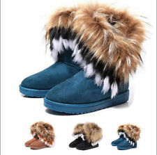 Women winter Ankle boots faux fox rabbit fur snow warm tassel shoes flat heel