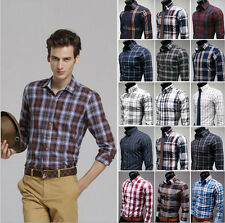 New Fashion Men's Button Plaids Luxury Casual Slim Fit Stylish Dress Shirts