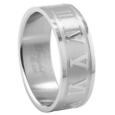Stainless Steel Roman Numerals All Around Stylish Elegant Band Ring Size 7-15