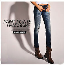 New DSQUARED2 Womens Sexy Slim Paint points Broken hole Feet pencil Jeans