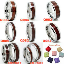 5mm/6mm/8mm Men Women Tungsten Carbide Brown Real Wood Wedding Band Promise Ring