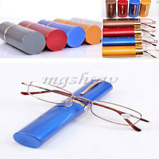 Unisex Metal Reading Glasses With Tube Case +1.5+2.0+2.5+3.0+3.5 4 Colors New