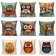 "Owl Animal Vintage Cushion Cover Pillow Case Home Sofa Car Decor 18""x18"" Cotton"