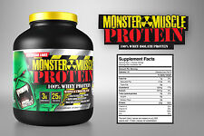 100% Whey Protein  Concentrate 5lb  Monster Muscle **FREE SHIPPING**