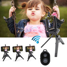 Bluetooth Selfie Remote Control Shutter+Folding Tripod Stand Holder For Phone